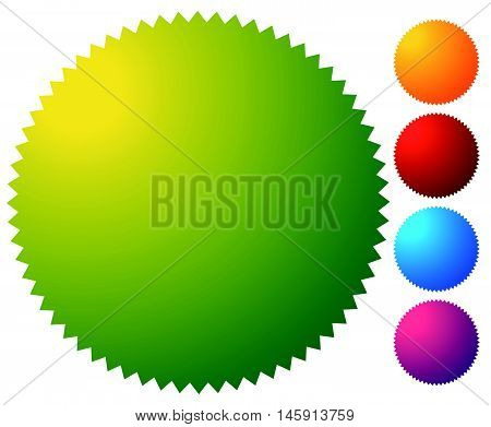 Empty Starburst, Sunburst Button, Icon Background In 5 Vibrant Colors. Generic Design Element.