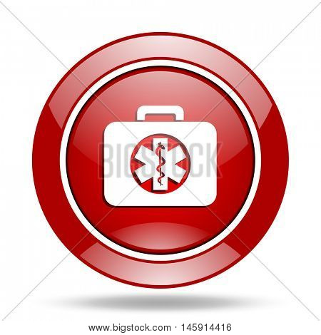rescue kit round glossy red web icon
