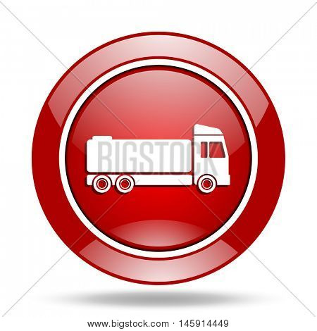 truck round glossy red web icon