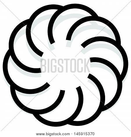Spirally Design Element, Abstract Geometric Motif, Symbol, Logo (monochrome Version)