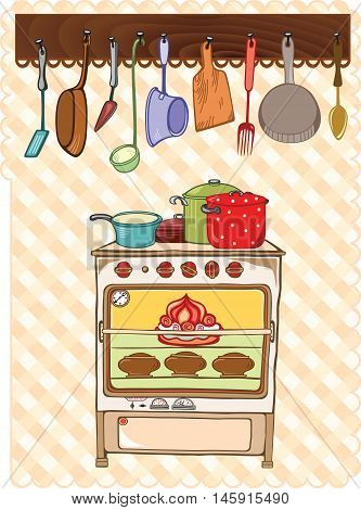 Stove and kitchen tools, color vector illustrations