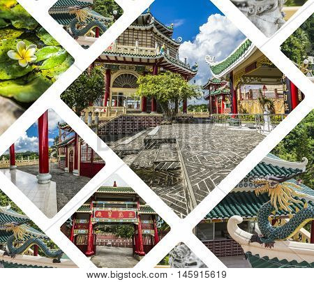 Collage Of Taoist Temple In Cebu, Philippines.- Travel Background (my Photos)