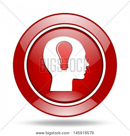 head round glossy red web icon