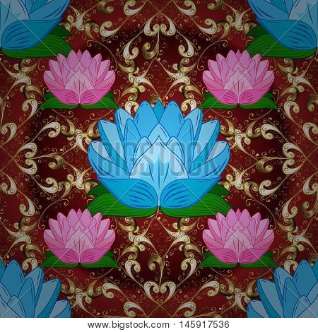 Golden pattern on brown background with pink and blue flowers. Vector.