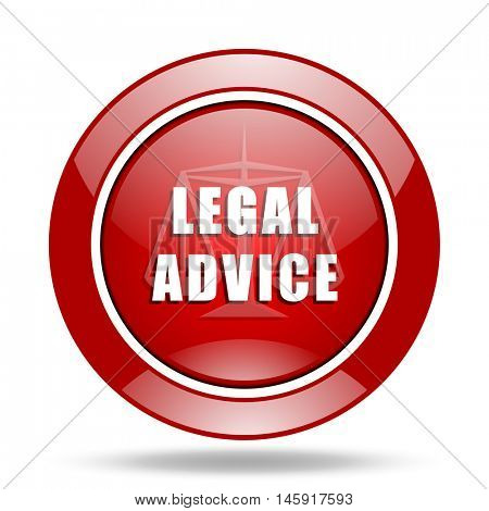 legal advice round glossy red web icon