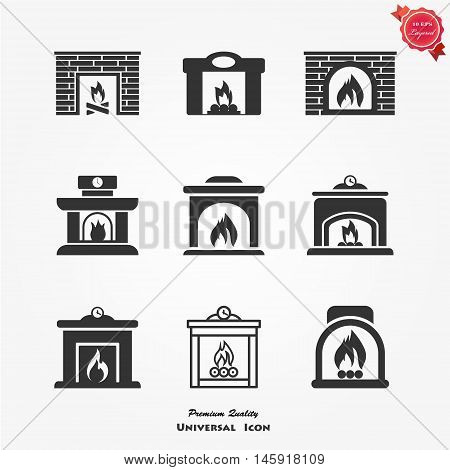 Fireplace icons set vector flat sign isolated on white background. Stove fireplace biofireplaces electric wood-burning classic modern indoor pellet-stove gas-powered icons - stock vector.