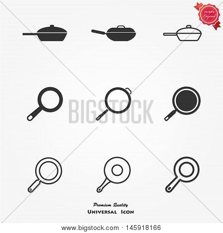 Frying pan sign icon. Fry or roast food symbol. Circle and square buttons. Flat design set. Thank you ribbon. Vector