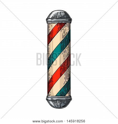 Classic barber shop Pole. Vector color vintage illustrations isolated on white backgrounds. Hand drawn engraving for poster label banner web.