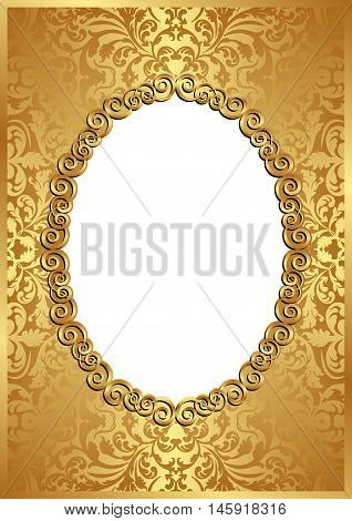 golden background with frame and transparent space insert for picture
