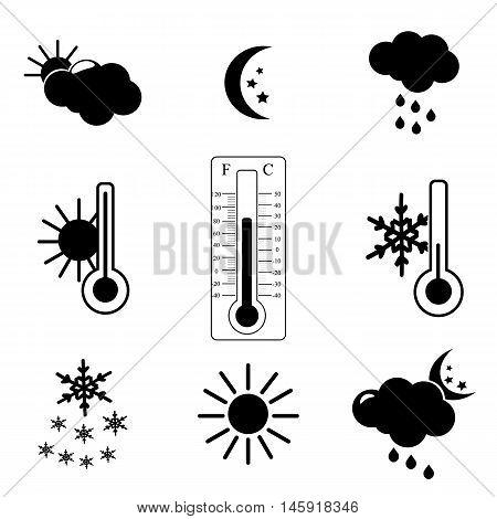 Weather forecast Icon Set. Silhouette flat design vector illustration