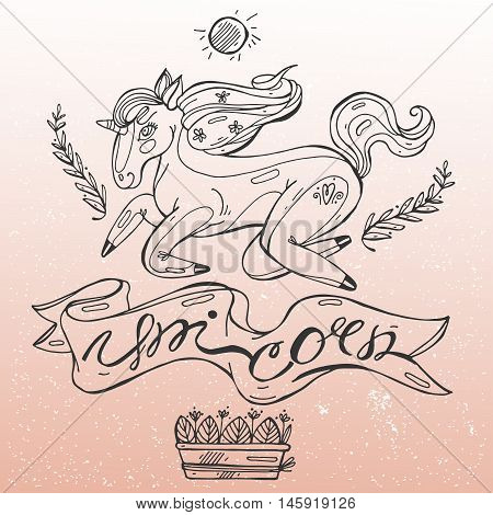 Hand draw line black and white vector illustration of magic unicorn with flowers in mane on gradient pink background .Hand lettering unicorn caligraphy with some floral elements.
