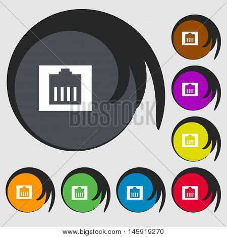 Internet Cable, Rj-45 Icon Sign. Symbols On Eight Colored Buttons. Vector