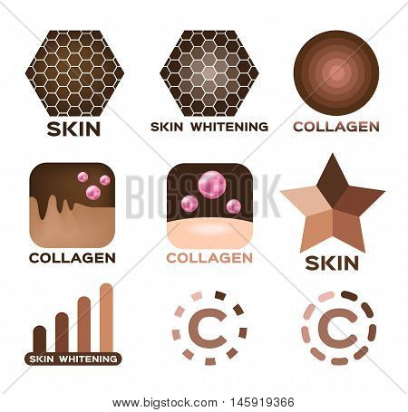 skin icon , logo and vector with collagen