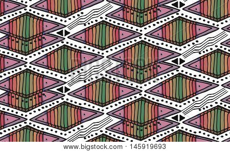 Vector hand drawn etnic decorative ornamental geometric background with rhombus in black and red colors.Seamless Geometrical Ornamental Patterns.