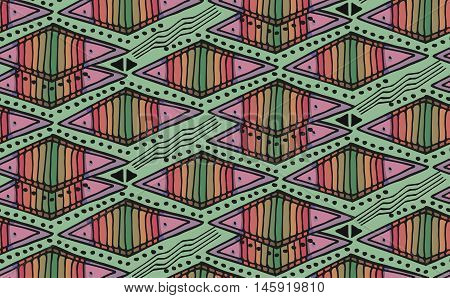Rhythmic colorful textured endless pattern with rhombs continuous elegant ethnic intertwine geometric background. Classic zigzag vivid texture.
