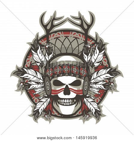 Stock Vector Indian skull chief badge on a white background