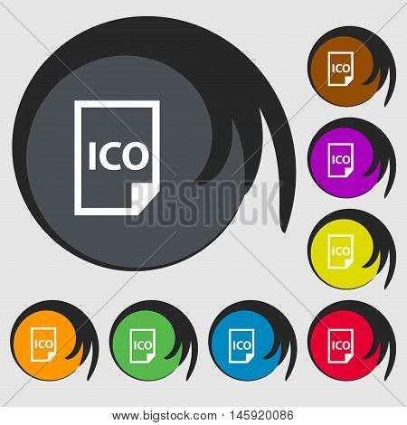 File Ico Icon Sign. Symbols On Eight Colored Buttons. Vector