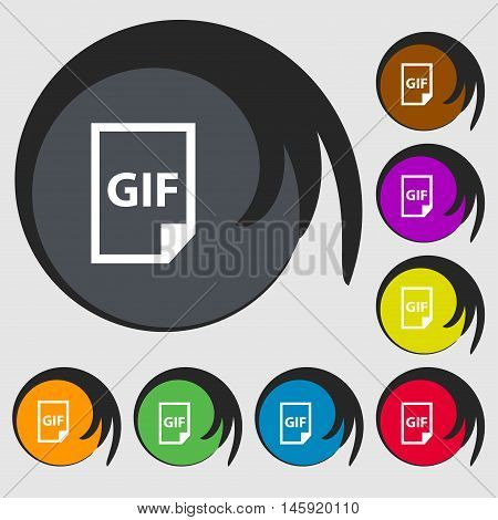 File Gif Icon Sign. Symbols On Eight Colored Buttons. Vector