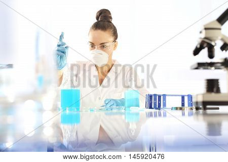 Biotechnology and genetic engineering. Biotechnologist examine the plant samples in the laboratory