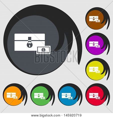 Chest Icon Sign. Symbols On Eight Colored Buttons. Vector