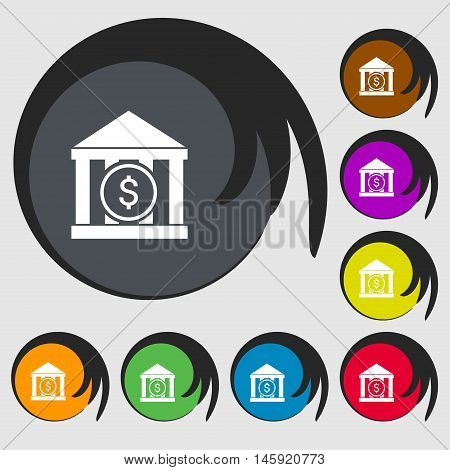 Bank Vector Icon Sign. Symbols On Eight Colored Buttons. Vector