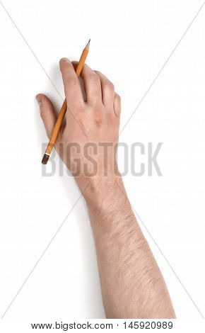 Close up view of a man's hand holding a pencil isolated on white background. Erasing and rubbing off. Drafting equipment. Art and inspiration.
