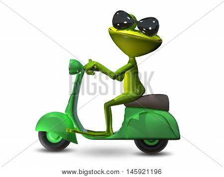 3D Illustration of a green frog on a green motor scooter