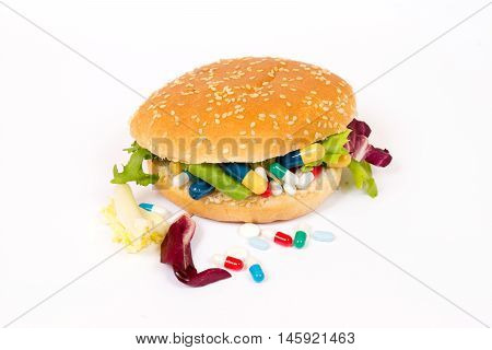 Eating medicines with a sandwich and pills