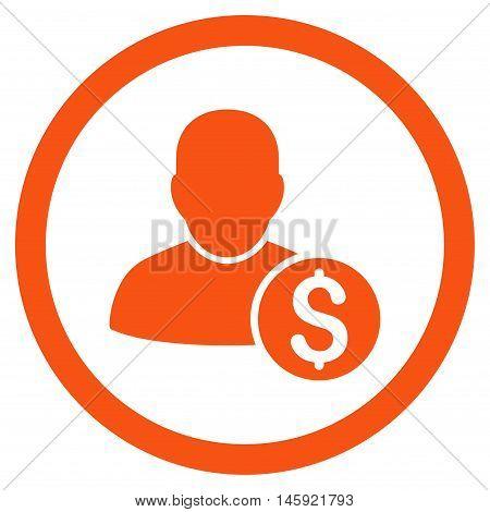 Businessman rounded icon. Vector illustration style is flat iconic symbol, orange color, white background.