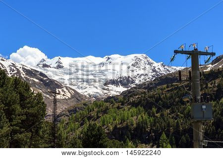 Forni Glacier And Transmission Tower In Ortler Alps, Stelvio National Park, Italy