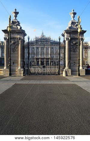 Courtyard of the Royal Palace of Madrid, Spain .