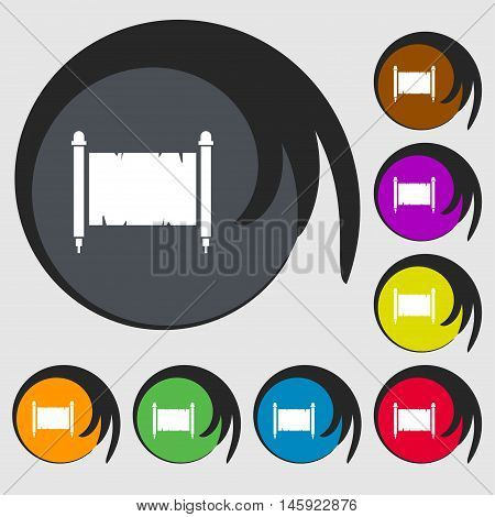 Ancient Parchment Sheet Of Paper Sign. Symbols On Eight Colored Buttons. Vector