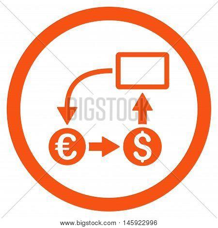 Cashflow Euro Exchange rounded icon. Vector illustration style is flat iconic symbol, orange color, white background.