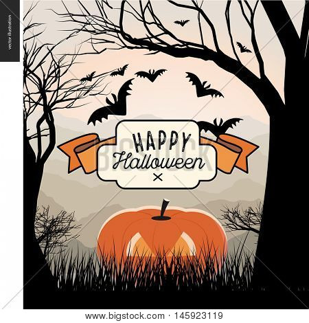 Happy Halloween illustarted poster. Vector cartoon illustration of a forest landscape with a pumpkin and flying bats, a black tree on foreground and light hills on the background.