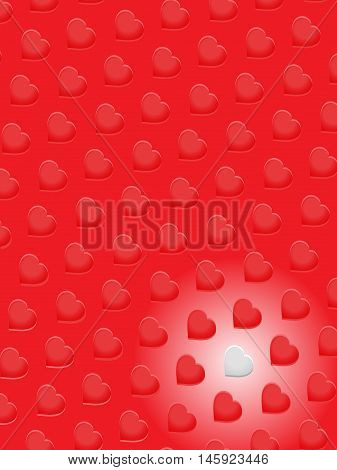 Red 3D Hearts Patters and One White Over Red Portrait Background