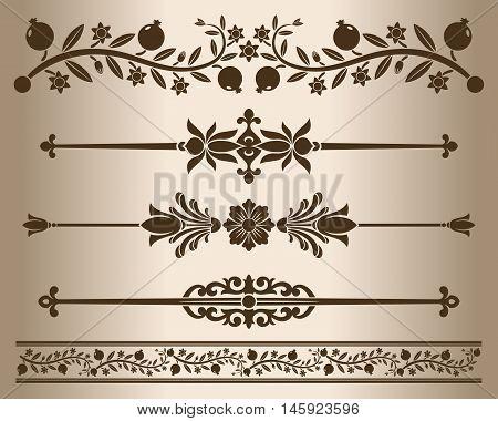 Decorative elements - floral. Design elements - decorative line dividers and ornaments. Monochrome graphic element. Vector illustration.