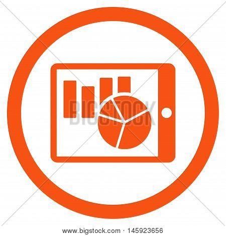 Charts on Pda rounded icon. Vector illustration style is flat iconic symbol, orange color, white background.