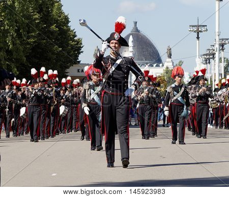 MOSCOW, RUSSIA - August 27, 2016: Italian Carabinieri Corps Band and their bandmaster. Festival of military orchestras