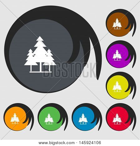 Christmas Tree Icon Sign. Symbols On Eight Colored Buttons. Vector
