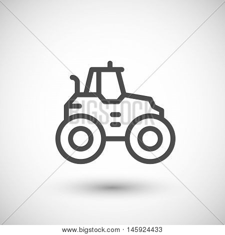 Agricultural tractor line icon isolated on grey. Vector illustration
