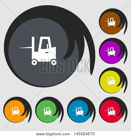 Forklift Icon Sign. Symbols On Eight Colored Buttons. Vector