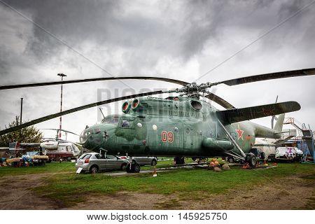 RIGA, LATVIJA - SEPTEMBER 2016: Mil Mi-6 (NATO reporting name Hook)  a Soviet heavy transport helicopter  in Riga aviation museum, Latvia