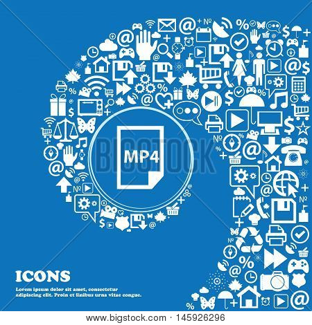 Mp4 Icon . Nice Set Of Beautiful Icons Twisted Spiral Into The Center Of One Large Icon. Vector