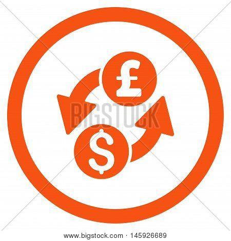 Dollar Pound Exchange rounded icon. Vector illustration style is flat iconic symbol, orange color, white background.