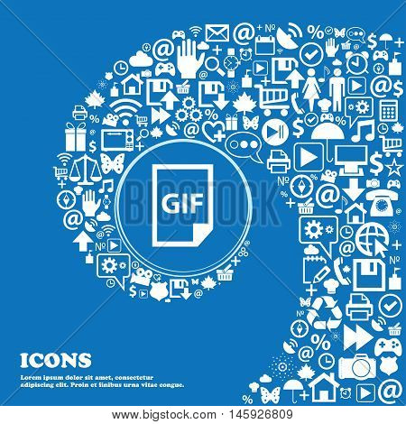 File Gif Icon . Nice Set Of Beautiful Icons Twisted Spiral Into The Center Of One Large Icon. Vector