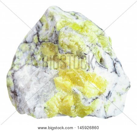 Sulfur (brimstone, Sulphur) Vein In Stone Isolated
