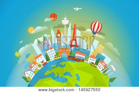 Famous signts around the world. Travel concept vector illustration. Around the world tour