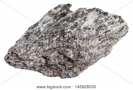 Quartz Biotite Schist Stone Isolated On White