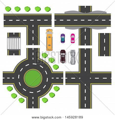 Set design for a transport node. The intersections of various roads. Roundabout Circulation. Transport. Vector illustration