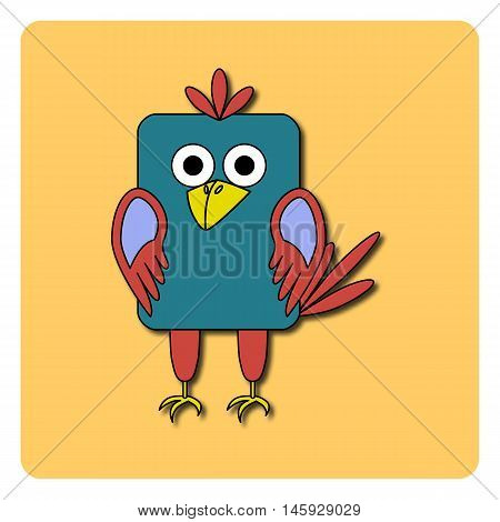 Flat bird design isolated on color background. Rounded rectangle blue and pink crow rook jackdaw magpie. Funny cartoon bird. Abstract bird logo icon emblem symbol. Vector illustration.